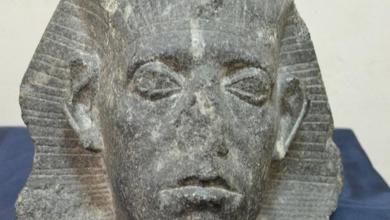 صورة رأس الملك سنوسرت الثالث قطعة الشهر بالمتحف المصري بالتحرير احتفالا بعيد الشرطة