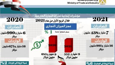 صورة وزيرة التجارة والصناعة تعلن: 6% زيادة في حجم الصادرات المصرية غير البترولية و2% ارتفاع في حجم الواردات و1% تراجع في عجز الميزان التجاري