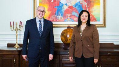 صورة نائب وزير السياحة والآثار لشئون السياحة تلتقي نائب وزير خارجية أوكرانيا خلال زيارتها للعاصمة الأوكرانية كييف